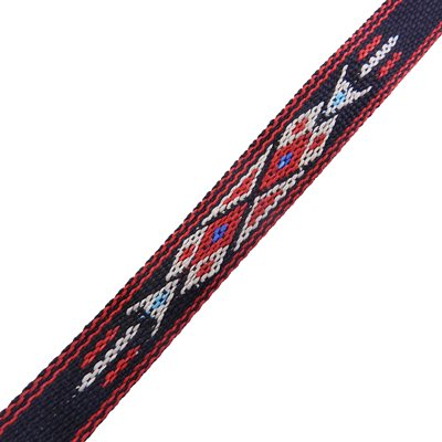 """3 / 4"""" woven braid-hitched trim black and red (5ft.)"""