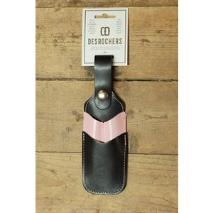 Étui à crayon et à couteau utilitaire (collection 'chums de filles'), cuir noir et rose, minimum 6