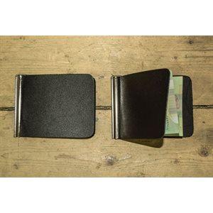 Porte-billets simple avec pince, cuir noir, minimum 12