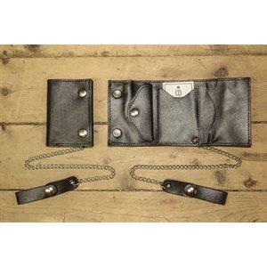 Portefeuille à 3 volets, petit format, cuir noir