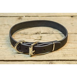 """Dog collar 3 / 4"""" , single layer full grain leather, size 16"""" to 20"""", by unit"""