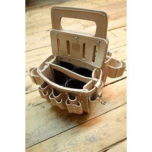 Porte-outils double avec la poignée, pour électricien prodessionnel, cuir végétal naturel