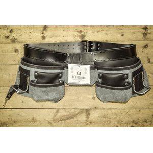 Tablier sac à clous 5 poches pour charpentier professionnel , cuir noir