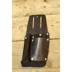 Utility holster, flash-light and pliers, black leather