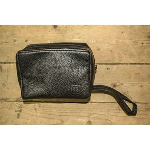 Cosmetic travel case, small size, black leather