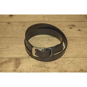 """Belt 1-1 / 8"""" for worker, grooved black leather, from size 50"""" to 54"""""""