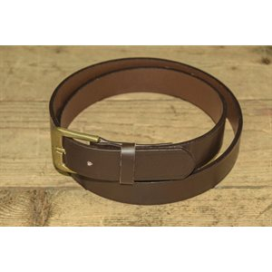 """Belt 1-1 / 8"""" for worker, grooved brown leather, from size 44"""" to 48"""""""