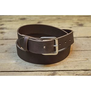 """Belt 1-1 / 2"""" for worker, ungrooved brown leather, from size 28"""" to 54"""""""
