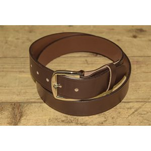 """Belt 1-1 / 2"""" for worker, grooved brown leather, from size 44"""" to 48"""""""