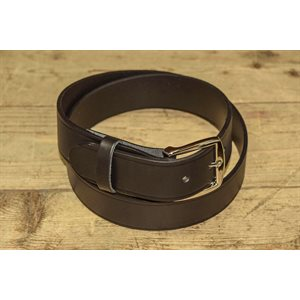 """Belt 1-1 / 2"""" for worker, grooved black leather, from size 28"""" to 42"""""""