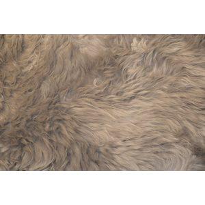 Peau mouton poils longs GRIS 115cm+(un)